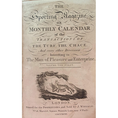 37 - Very Good Run, with Engraved Plates etcBindings:The Sporting Magazine; or Monthly Calendar of the ...