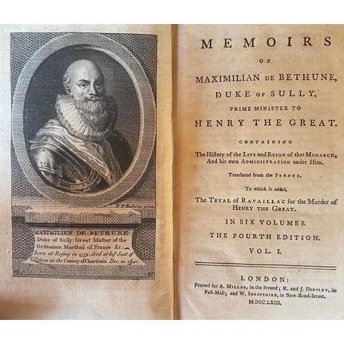 60 - Bindings: Sully (Duke of,)Memoirs, 6 vols. sm. 8vo L. 1763.Fourth, port. frontis fold. map;Tayl...