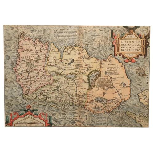 934 - Abraham Ortelius (1527 - 1598)Hiberniae Britannicae Insulae Nova Descriptio,engd. map, had coloured...