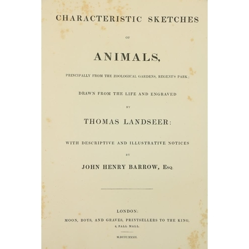 893 - Engraved Plates: Landseer (Thos.)Characteristic Sketches of Animals, with descriptions ... by John...