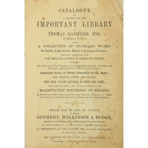 926 - V. Rare Priced Book CatalogueBibliography: [Thomas Gaisford] Sotheby's, Auctioneers,Catalogue of A...