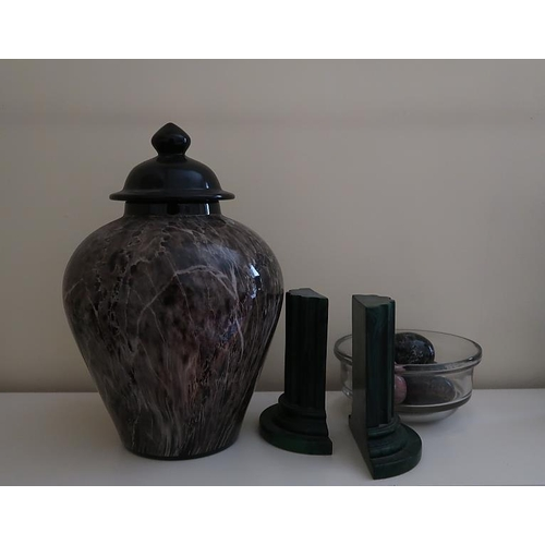 12 - A misc. collection including a marbleized baluster vase and lid, a pair of columnar bookends, six ca...