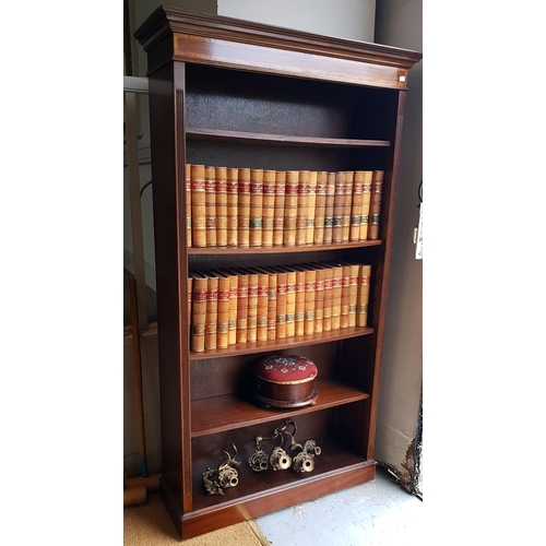 14 - A mahogany open bookcase on plinth base, 187 cms high, 94 cms wide....