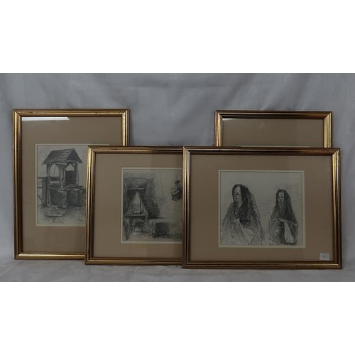 34 - A collection of four 19th pencil drawings, 'The Town Pump', 'A Well', 'Genre Scene' and 'Two Nuns', ...