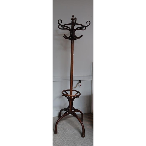 36 - A Bentwood six hook coat and hat stand, 206 cms high....
