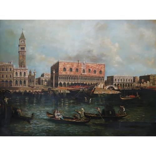 42 - Oileograph, Venetian Scene in moulded gilt frame, 90 x 120 cms....