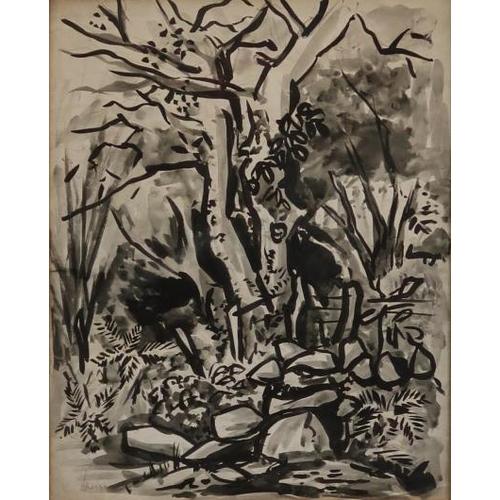 52 - Arthur Armstrong 1924 - 1996 Woodland Scene Wash, 36 x 30 cms. Signed....