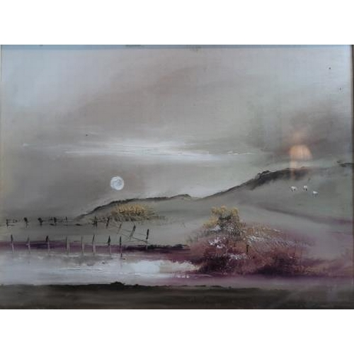 60 - Simon Corballis 'Light' & 'Man on the Frosty Morn' Oil on board, 34 x 44 cms. Inscribed verso, (2)....
