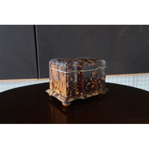 2 - An early 19th century tortoiseshell tea caddy with fitted interior,raised on bun feet,18 cms long.