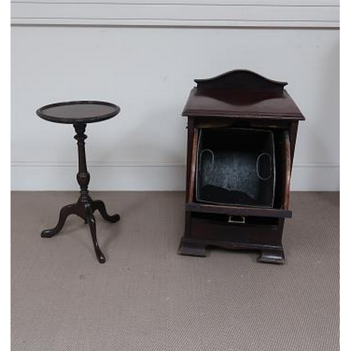 34 - An Edwardian mahogany fall front coal scuttle raised on bracket feet, with liner, 60 cms high, 40 cm...