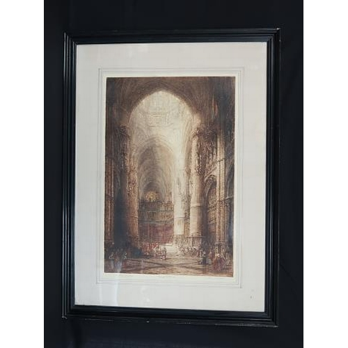 4 - Burgos Cathedral Lade, Looking East &  Rheims Cathedral, A pair of sepia prints,  Signed J.Althege (...