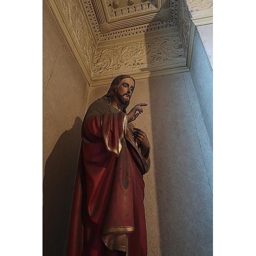 41 - A Victorian plaster figure of Christ, 153 cms high.