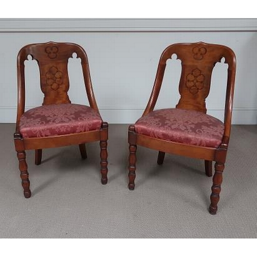 49 - A pair of Biedermeyer style inlaid mahogany low chairs with upholstered seats on turned supports, 76...