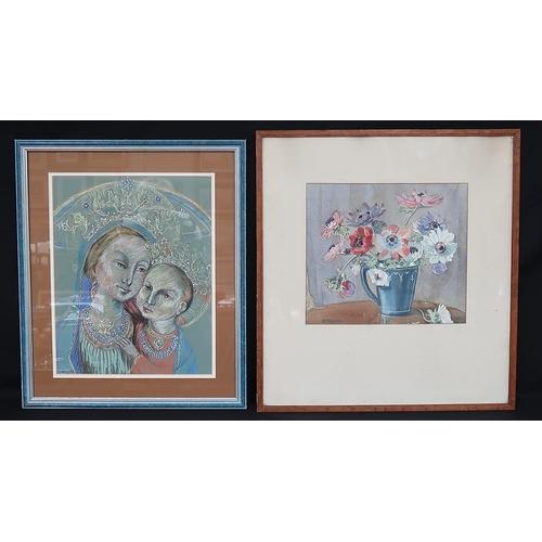 9 - Bunch Moran Madonna & Child Mixed media, 37 x 28 cms Signed  together with  Irish School Still Life ...