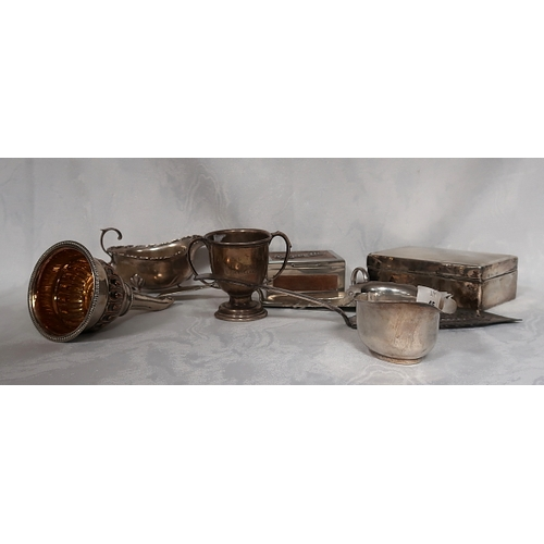 45 - A collection of misc silver and plated ware inlcuding two silver sauceboats, a silver cigarette box,...