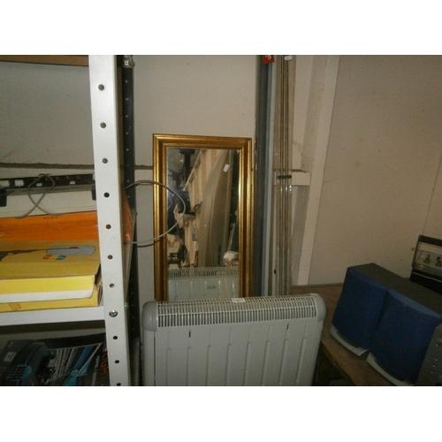 44 - Electric heater, gilt framed mirror, window blind and curtain rail...