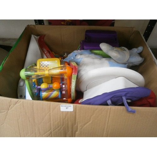 27 - Box of toys and canvas print...