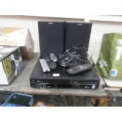 36 - Lot inc Panasonic DVD/Video player, Sony speakers, remote controls...