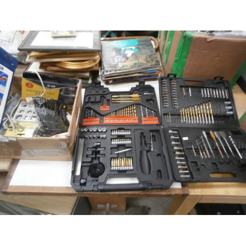 53 - Box of hardware and two drill piece sets...