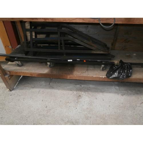 11 - Lot inc car ramps, mechanics trolley, curtain pole...