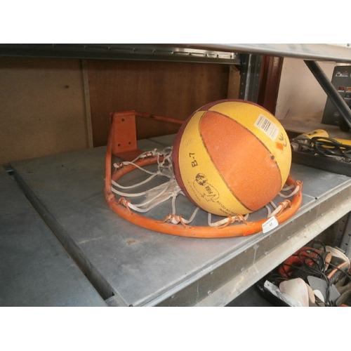 17 - Metal basketball ring and ball...