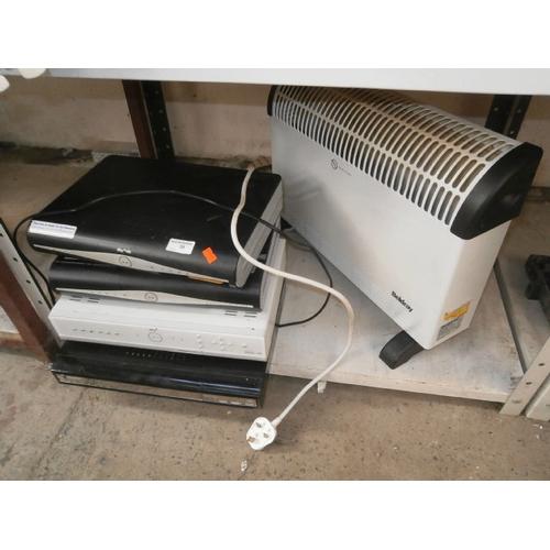 36 - Three Sky boxs, digital box and electric heater...