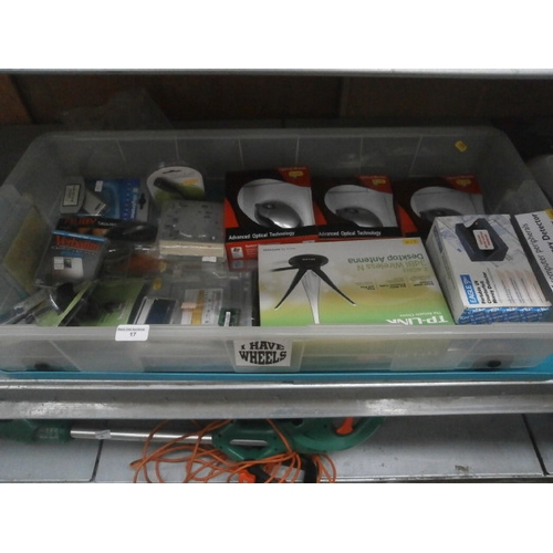 17 - Under bed storage box containing computer accessories, all new...