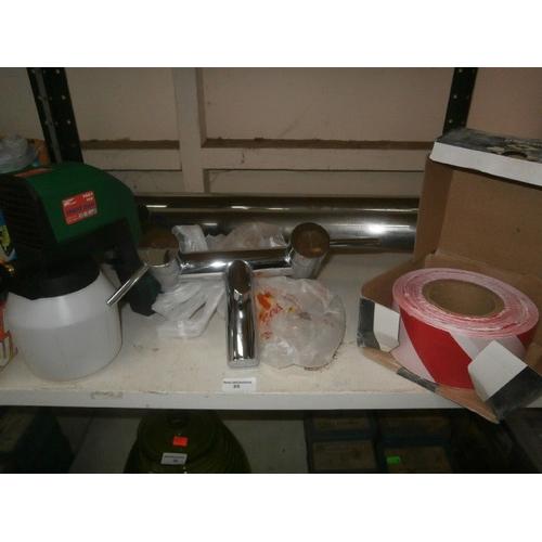 35 - Lot inc set of taps, spray gun, barrier tape, Breakfast bar legs...