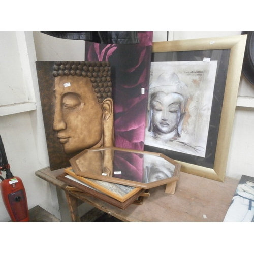 40 - Collection of artwork and mirror...