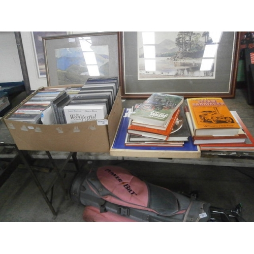 46 - Lot inc steam train and vintage car books, CDs, DVDs...