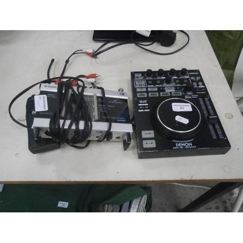 53 - Lot inc Denon mixer, Audio 8 DJ, etc...
