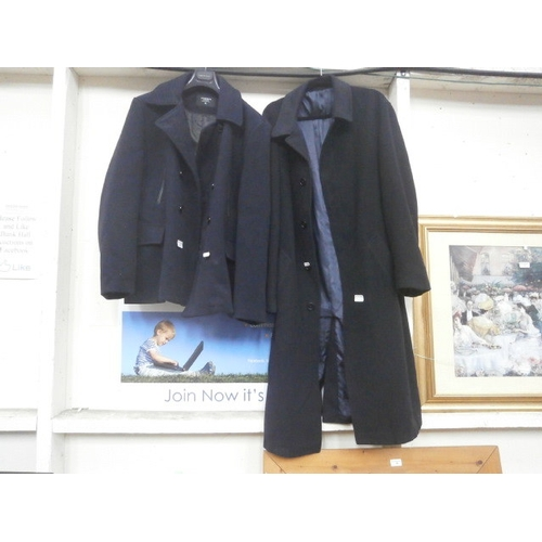 54 - Two navy blue coats inc Cedarwood State and Baker street...