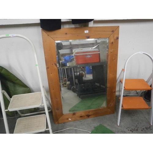56 - Large pine framed mirror...