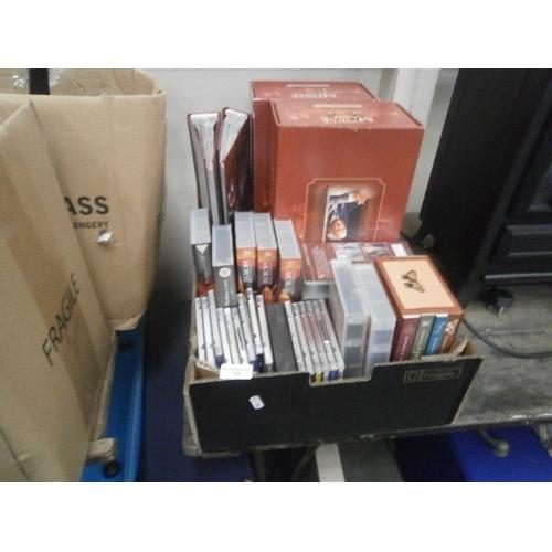 52 - Box containing Inspector Morse videos, DVDs, folders, etc...