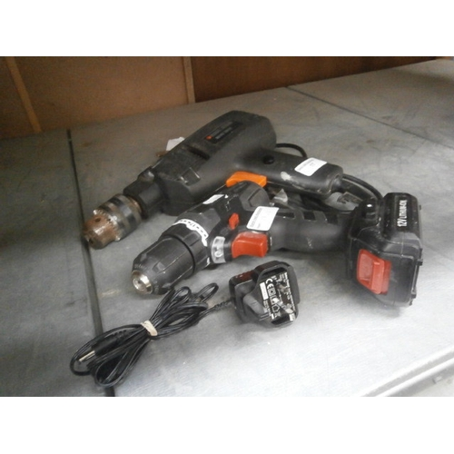 17 - Small cordless drill and charger and Black & Decker drill...