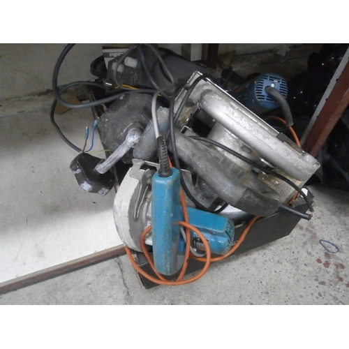 34 - Box inc circular saws, old light, angle grinder, stereo, etc...