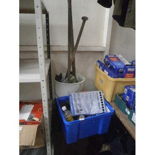49 - Lot inc garden tools, hand tools, Tarpaulin, chemicals, etc...