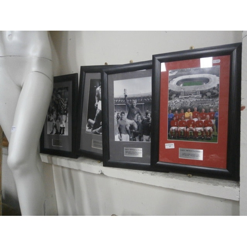 57 - Four framed photographs inc England world cup winning team, Muhammad Ali, etc...