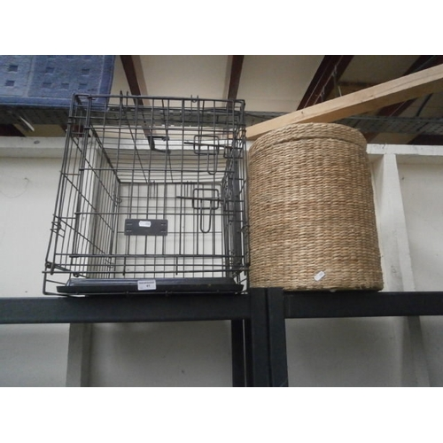 41 - Dog cage and woven basket...