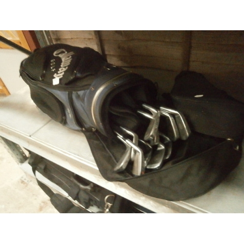 8 - Callaway golf bag with selection of clubs...