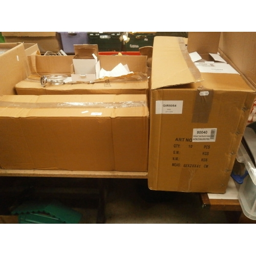 112 - Lot inc Two boxes of new wall attachable candle holders 10 per box and box of 10 new toilet brush se...