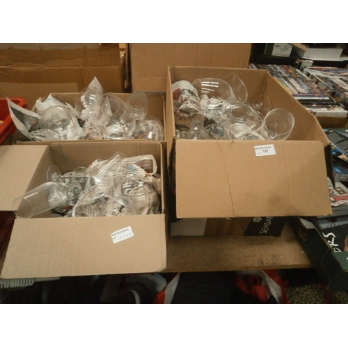 127 - Three boxes of glasses...
