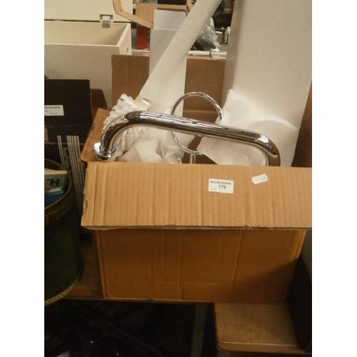 176 - Three boxes of polished chrome toilet brush sets, 10 per box...