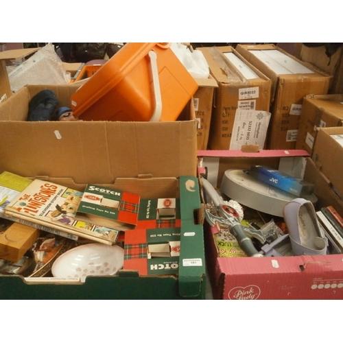 181 - Three boxes inc books, toys, ornaments, masking tape, etc...