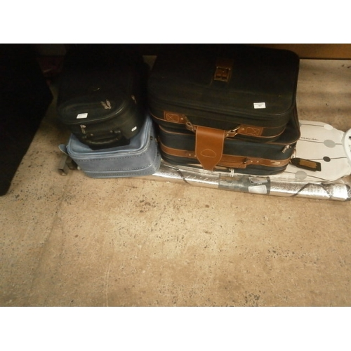 187 - Lot inc suitcases, ironing board and windscreen cover...