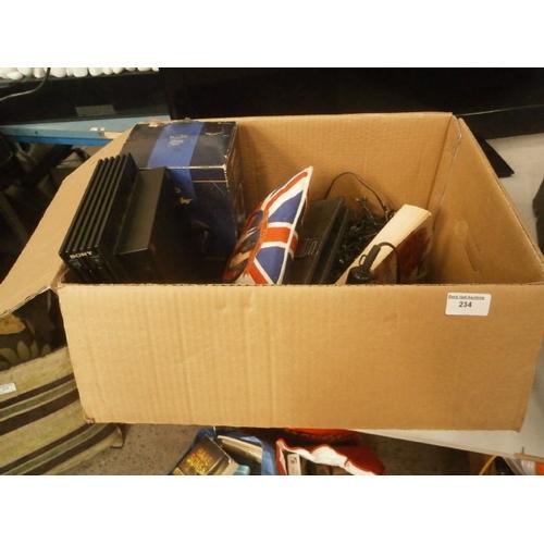 234 - Box inc Playstation 2, fairy lights, hair dryer, etc...