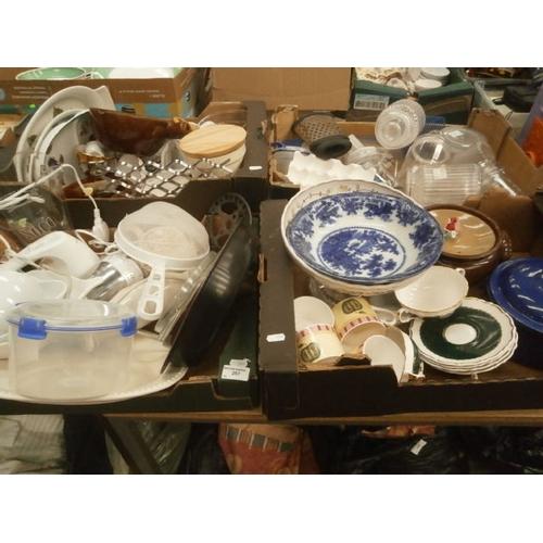 257 - Four boxes inc crockery, storage jars, kitchen gadgets, etc...