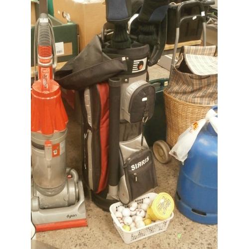 261 - Sirris golf bag with Ping clubs, golf balls, etc...