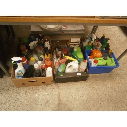 280 - Three boxes of household and maintenance chemicals...