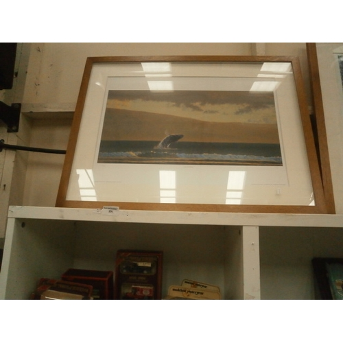 291 - Large framed limited edition whale print...